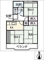 中駒九番団地 4号棟[7階]の間取り
