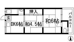 大阪府池田市呉服町の賃貸アパートの間取り