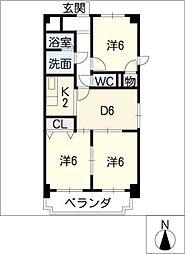 ファミール六番[5階]の間取り