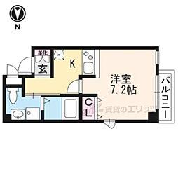 京都市営烏丸線 烏丸御池駅 徒歩6分の賃貸マンション 4階1Kの間取り