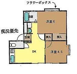 神奈川県茅ヶ崎市今宿の賃貸アパートの間取り