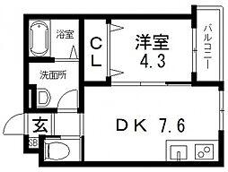 シティーコート徳庵 2階1DKの間取り