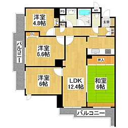 大阪府堺市東区日置荘西町3丁の賃貸マンションの間取り