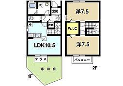 ディアコートIII 1階2LDKの間取り
