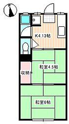 山口県下関市武久町2丁目の賃貸アパートの間取り