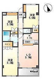 フレアマンションII[302号室]の間取り