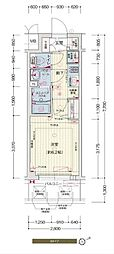 阪神なんば線 九条駅 徒歩5分の賃貸マンション 9階1Kの間取り