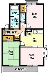 サニーコート田辺A[2階]の間取り