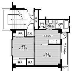 ビレッジハウス米倉2号棟 4階2Kの間取り