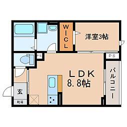 JR東海道本線 静岡駅 徒歩11分の賃貸アパート 2階1LDKの間取り