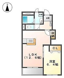 コーポ加藤Ⅱ[1階]の間取り