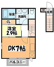 仙台市営南北線 長町南駅 徒歩7分の賃貸アパート 2階1DKの間取り