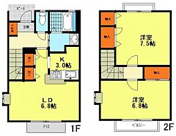 JR中央本線 西荻窪駅 徒歩16分の賃貸テラスハウス 2LDKの間取り