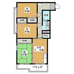 ヤマハハイツ伊勢崎A[3階]の間取り