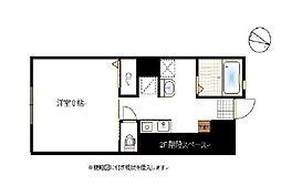 岡山電気軌道東山本線 門田屋敷駅 3.1kmの賃貸アパート 1階1Kの間取り