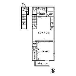 ローズコート玉川[2階]の間取り