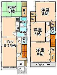 [一戸建] 兵庫県伊丹市北野2丁目 の賃貸【兵庫県 / 伊丹市】の間取り