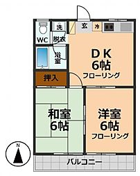 東京都杉並区久我山2丁目の賃貸アパートの間取り
