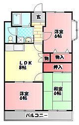 Osaka Metro長堀鶴見緑地線 鶴見緑地駅 徒歩24分の賃貸マンション 3階3DKの間取り