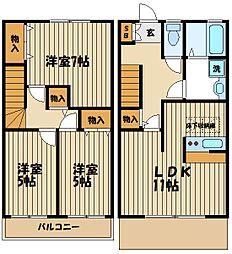 [タウンハウス] 東京都府中市是政1丁目 の賃貸【/】の間取り