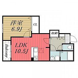 千葉県八街市八街への賃貸アパートの間取り