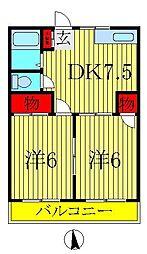 松丸ハイツ 6号棟[202号室]の間取り