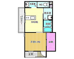 kukulu北岡 1階1DKの間取り