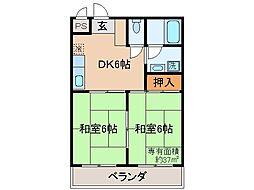 京都府京都市山科区勧修寺東堂田町の賃貸マンションの間取り