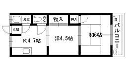 マンション空田 B棟[307号室]の間取り