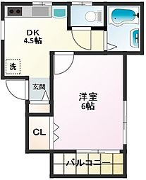 東京都中野区松が丘2丁目の賃貸アパートの間取り