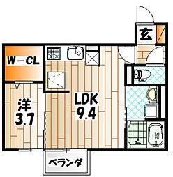 福岡県北九州市小倉南区城野3丁目の賃貸アパートの間取り
