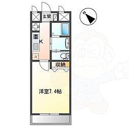 長岡京新築1Kマンション 3階1Kの間取り