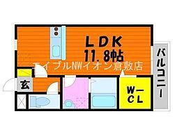 JR山陽本線 中庄駅 徒歩15分の賃貸アパート 1階ワンルームの間取り