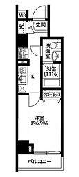 プレール・ドゥーク新宿下落合 5階1Kの間取り