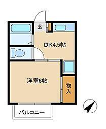 プランドール 松戸[1階]の間取り