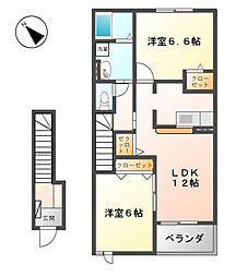 長野県東御市滋野乙の賃貸アパートの間取り