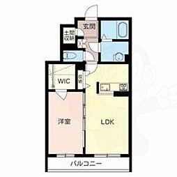 シャーメゾン秋山E 2階1LDKの間取り
