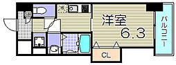 大阪府大阪市福島区福島8丁目の賃貸マンションの間取り