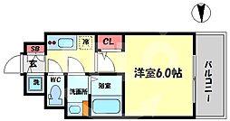 エスリード大阪梅田リュクス 10階1Kの間取り