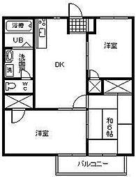 サンハイム平塚[A203号室]の間取り