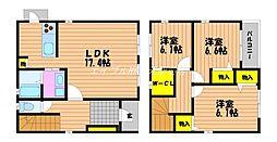 [一戸建] 岡山県岡山市北区西長瀬 の賃貸【/】の間取り