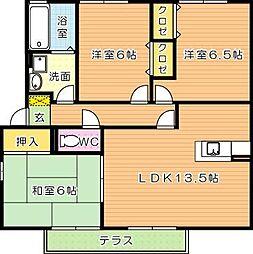 グランディール3番館[1階]の間取り