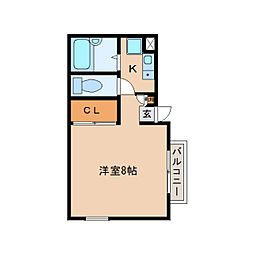 静岡県静岡市駿河区小鹿1丁目の賃貸アパートの間取り