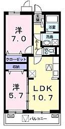 大阪府八尾市高安町南1丁目の賃貸マンションの間取り