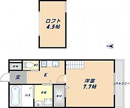 大阪府東大阪市中新開2丁目の賃貸アパートの間取り