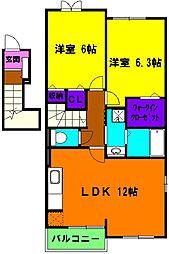 静岡県浜松市南区寺脇町の賃貸アパートの間取り