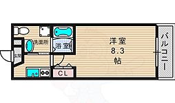 京阪交野線 交野市駅 徒歩5分の賃貸マンション 6階1Kの間取り