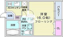 宮町first 3階1Kの間取り