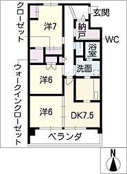 リバーズマンション築捨III[3階]の間取り