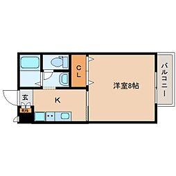 近鉄橿原線 筒井駅 徒歩5分の賃貸アパート 1階1Kの間取り
